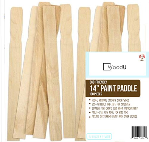 Wooden Paint Stir Sticks 14'' Bulk Pack of 100pc, Paint Paddles for Mixing Paint & other liquids, Use for Art project & home improvement, Garden, Library Marker & Kids activity DIY Wood Craft Sticks by WoodU