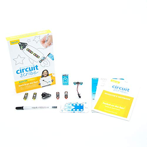 Circuit Scribe Basic Kit Plus: Draw Circuits Instantly - Includes STEM Workbook, Conductive Silver Ink Pen to Learn, Explore, and Create Your Own Circuits and Switches!