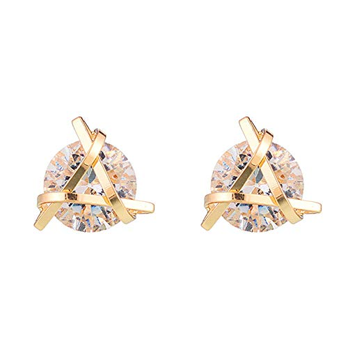 Earrings Brass Plated Gold - Heypin Cubic Zirconia Geometric Triangle Gold Knot Stud Earrings (gold-plated-brass)