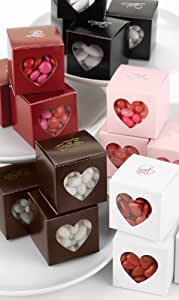 Hortense B. Hewitt 30808P Mocha Heart Window Favor Boxes