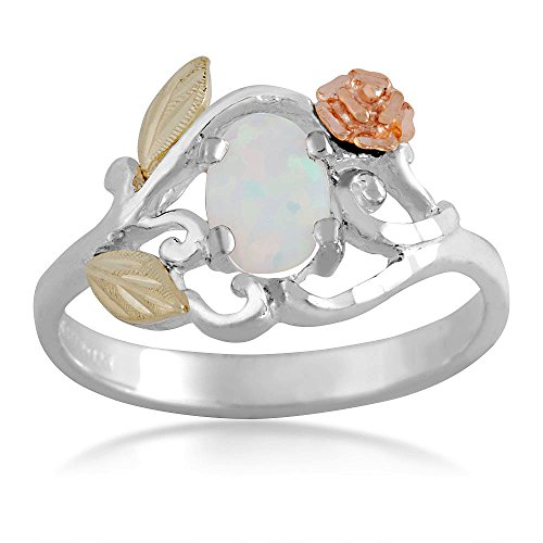 Landstroms Ladies Sterling Silver Opal Ring with 10k Gold Rose and Synthetic Opal - (Black Hills 10k Opal Ring)