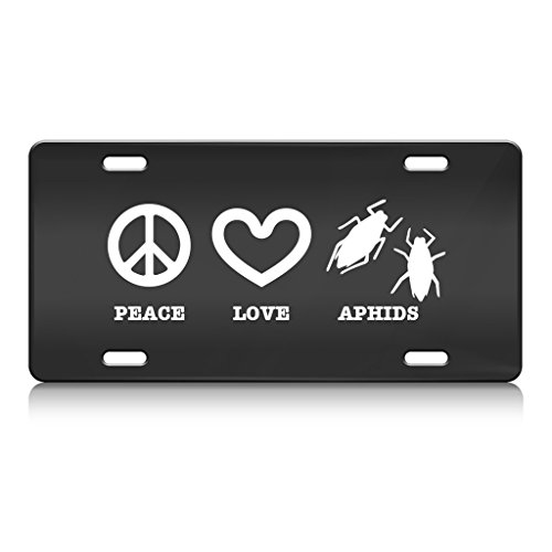 peace-love-aphids-animal-animals-metal-license-plate-frame-bl