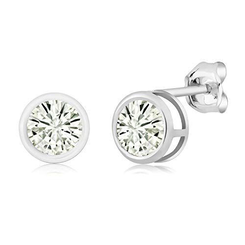 (925 Sterling Silver Stud Earrings Forever Classic Round 1.00ct (DEW) Created Moissanite by Charles &)
