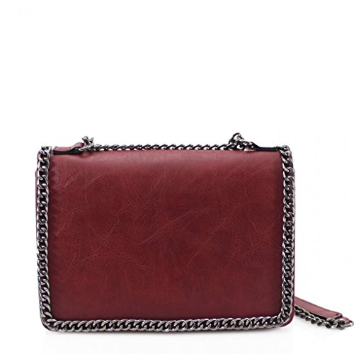 Strap Burgundy Ladies Chain Body Leahward Women's Bow Bag Cross Size Small Bags qgYvBg
