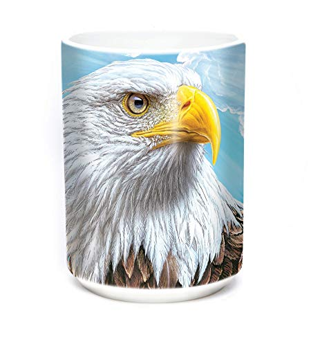 The Mountain 15oz White Ceramic Bird Mug Guardian Eagle