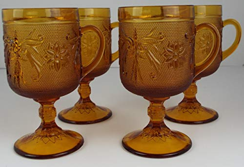Set of 4 Tiara Indiana Amber Glass Footed Goblets w/Handles ~ Sandwich Glass