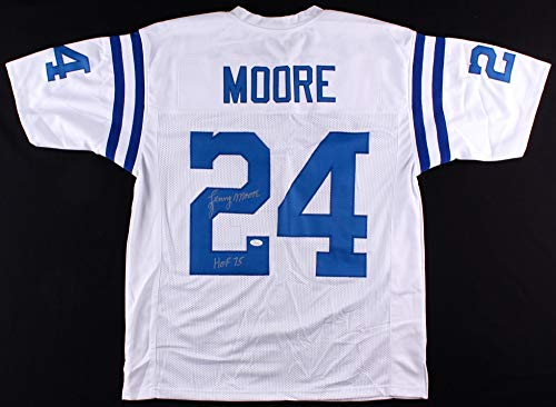 (Lenny Moore Autographed White Indianapolis Colts Jersey - Hand Signed By Lenny Moore and Certified Authentic by JSA - Includes Certificate of Authenticity - Inscribed HOF 75)