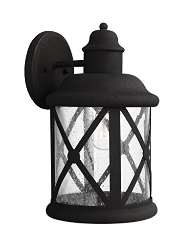 Sea Gull Lighting 8721401-12 Lakeview One-Light Outdoor Wall Lantern with Clear Seeded Glass Shade, Black (14' Width Flush Mount)