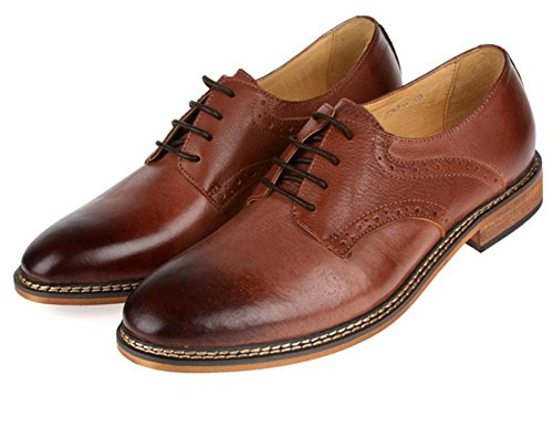 Hombres Boda Zapatos Cuero Formal Negocio Hecho a mano Oxford Encajes Casual para Hombres Negro marrón tamaño 38-44 brown