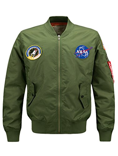 Lavnis Men's Hip Hop Jacket Air Sky Flight Patch Embroidery Slim Fit Bomber Jackets Thick Style 2XL (Patch Bomber)