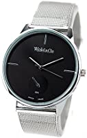 WOMAGE Classic Men's Quartz Stainless Steel Wrist Watch Black