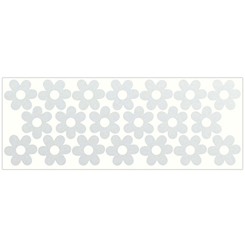 LiteMark Reflective White Flower Sticker Decals for Helmets, Bicycles, Strollers, Wheelchairs and More - Pack of 20