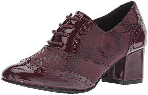 Soft Style by Hush Puppies Women's Gisele Oxford, Bordeaux Snake/Patent, 8.5 W - Puppies Hush Oxford Heels