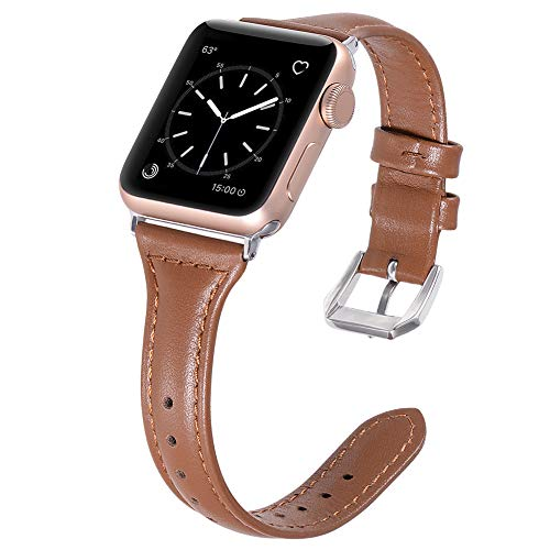 Karei Leather Bands Compatible with Apple Watch Band 38mm 40mm, Retro Top Grain Genuine Leather Replacement Strap with Stainless Steel Clasp for iWatch Series 4 3 2 1, Sport, Edition ()