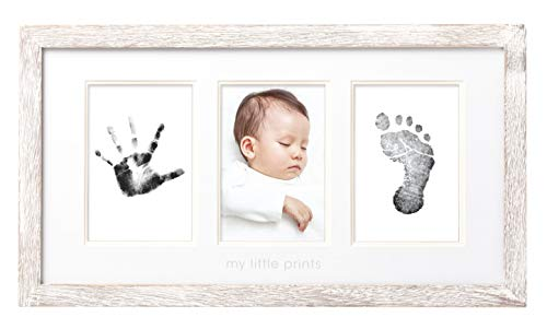 Pearhead Babyprints Wall Frame, Rustic Nursery Decor, A Perfect Baby Shower Gift Idea for Expecting Parents, Distressed]()