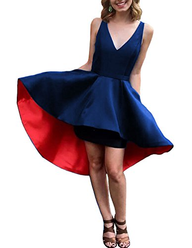 Neck Women Dress Homecoming Prom with DYS Lo red Pocket s Dress Cocktail Hi 2royal Short V OwXTTdRAq