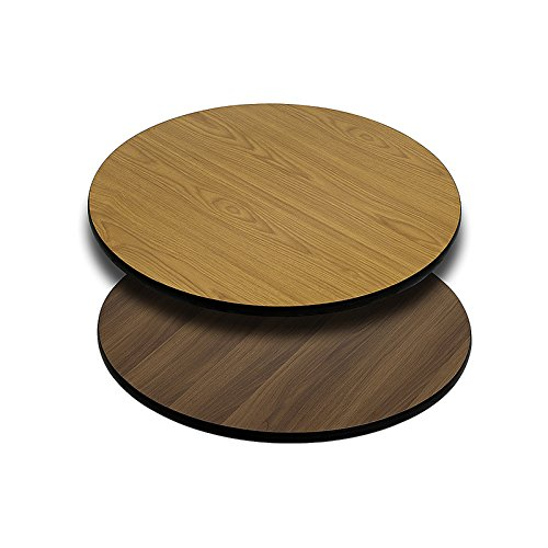 24'' Round Restaurant Table Top Natural or Walnut Reversible Laminate Top