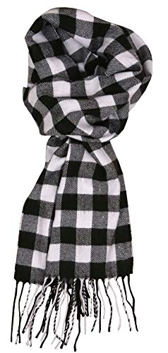 Love Lakeside Soft Cashmere Feel Winter Plaid Scarf (08-Black and White Buffalo Check)