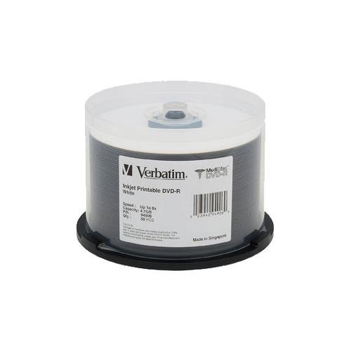 VERBATIM 94907 DVD-R 4.7GB 8X MediDisc White Thermal Printable 50-pk