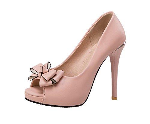GMBLB014775 Rose Unie Sandales d'orteil Ouverture Haut à AgooLar Couleur Femme Tire Talon F4q4vRU