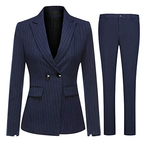 (Women's Two Piece Office Lady Stripes Business Suit Set Slim Fit Blazer Jacket Pant)