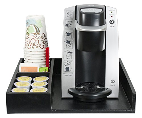 Wholesale Hotel Products Luxury Coffee Organizer and Condiment Station, Black Leatherette