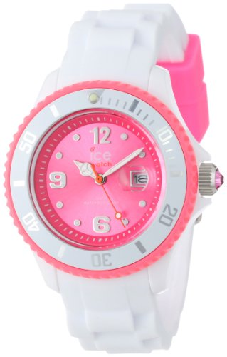 9b1886cf77a906 ICE-Watch - Montre Mixte - Quartz Analogique - Ice-White - White - fluo  pink - Small - Cadran Rose - Bracelet Silicone Blanc - SI.WP.