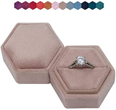The Lux Box: Gorgeous Antique Velvet Geometric Ring Boxes for Proposals and Wedding Photos || Hexagon and Oval || Single or Double Rings || Fits Slim Bands (Dusty Rose Matte Hexagon Single)