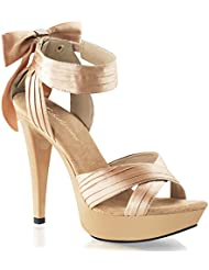 Summitfashions Womens Champagne Satin 5 Inch Platform High Heel Sandals Shoes with Bow Detail