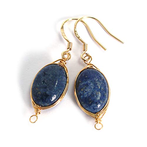 Scutum Craft Natural Stone Dangle Drop Earrings with Gold Plated Wire Wrap and 925 Sterling Silver Hook Jewelry for Women (Lapis Lazuli Oval Round 13mm)