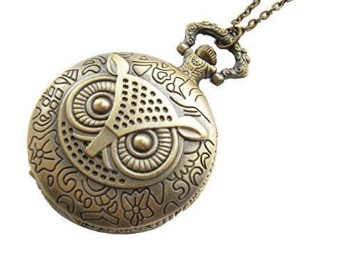 Owl Pocket Watch Pendant - Steampunk pocket WATCH,Ancient Bronze Owl Pocket Watch Necklace Owl Pocket Watch Pendant