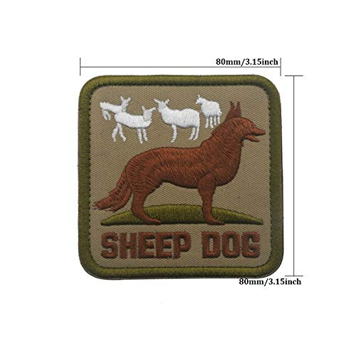 Sheep Dog Square-Shape Embroidered Patches Military Tactical Armband Fabric Sticker Sewing Applique for Clothing (Fleece Embroidered Sheepdog)