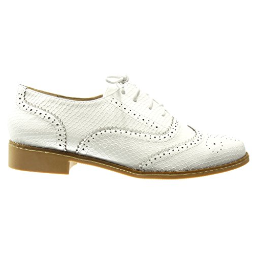 Angkorly - damen Schuhe Brogue Schuh - Schlangenhaut - Krokodil - Perforiert Blockabsatz 2.5 CM - Weiß