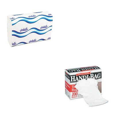 KITWBIHAB6FK100WNS101 - Value Kit - Handi-bag Super Value Pack Trash Bags (WBIHAB6FK100) and Windsoft 101 Bleached White Embossed C-Fold Paper Towels (WNS101)