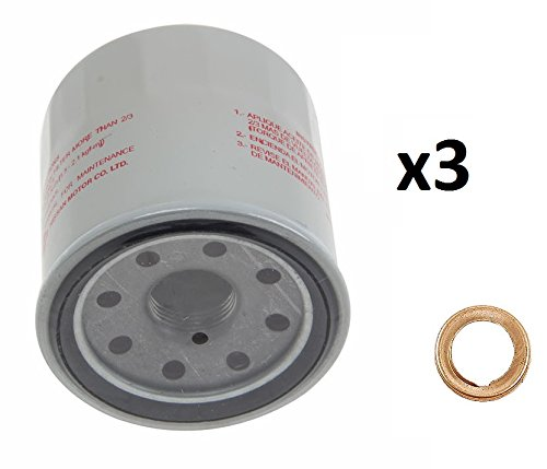 3 Genuine Engine Oil Filters 1520865F0E and 5 Stone Washers 1102601M02 Stone for Nissan 370Z Altima Cube Frontier Maxima Rogue