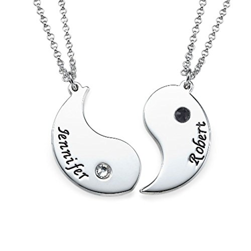 Emily And Ashley Initials Necklace - Engraved Yin Yang Necklace for Couples