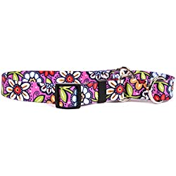 """Yellow Dog Design Pink Garden Martingale Dog Collar, Small-3/4"""" Wide and fits neck sizes 12 to 16"""""""