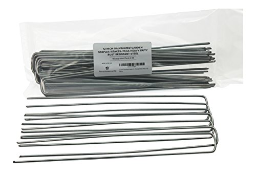 Pinnacle Mercantile 12 Inch Galvanized Garden Staples/Stakes/Pegs Heavy Duty Rust Resistant 9 Gauge Steel Pack of 20