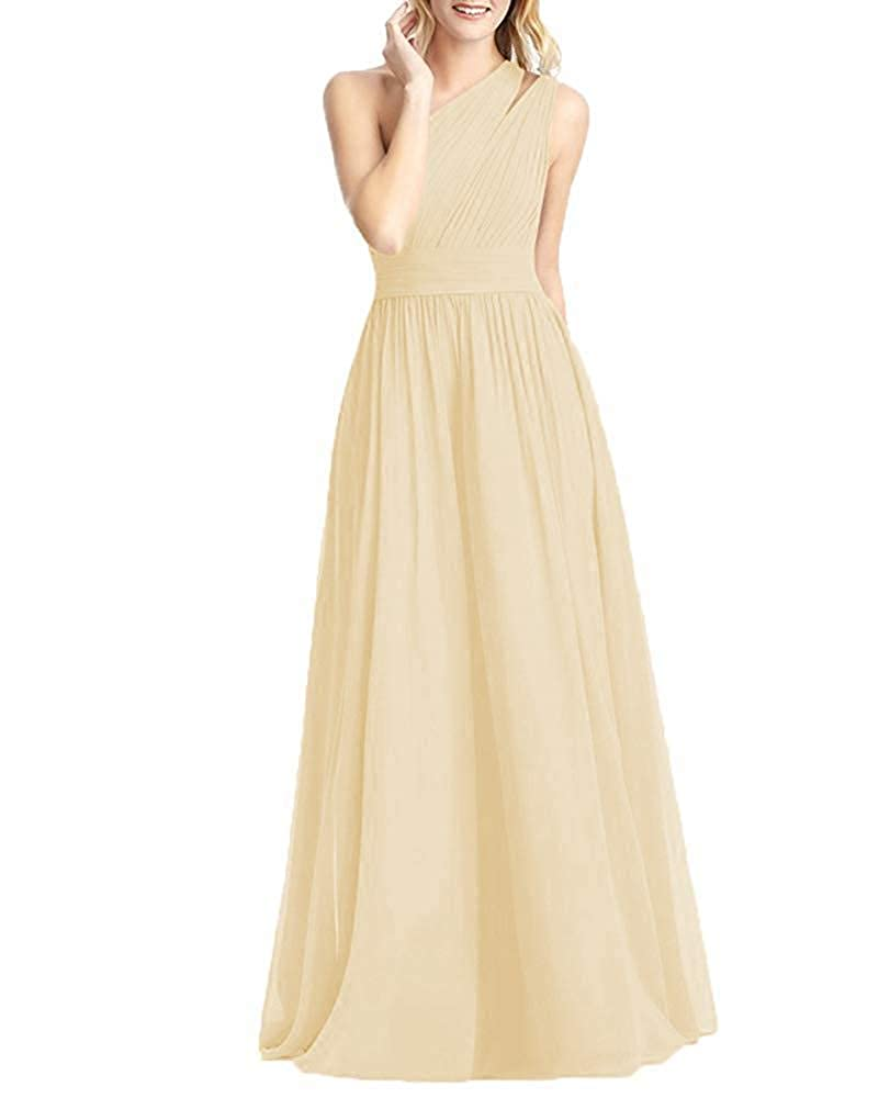 Champagne NewFex One Shoulder Bridesmaid Dress Long 2019 Aline Pleated Formal Women's Evening Gown