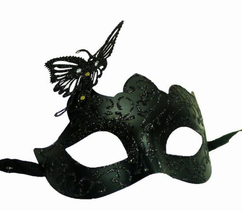 Venetian Black Color Eye Mask w/ Butterfly ornament