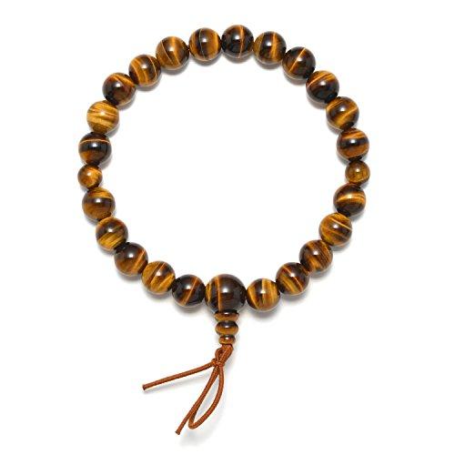 Kyoto Wood Natural (Mens Red/Blue/Brown Tiger Eye 8mm/10mm Beads Japanese Juzu Bracelet Prayer Beads Asian Handmade in Kyoto (Brown, 8))