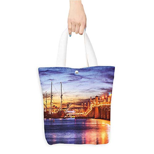 (Best Canvas Grocery Shopping BagsSt. August e Florida Famous Bridge Li Sunset Maj tic Orange Blue Natural Color & Eco-Friendly W11 x H11 x D3 INCH)