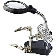 Nydotd Led Light Magnifier & Desk Lamp Helping Hand with Magnifying Glass, Third Hand LED Lamp Solder Holder for Soldering Work Hobby, Repair, Model Games, Workshop and Assembly
