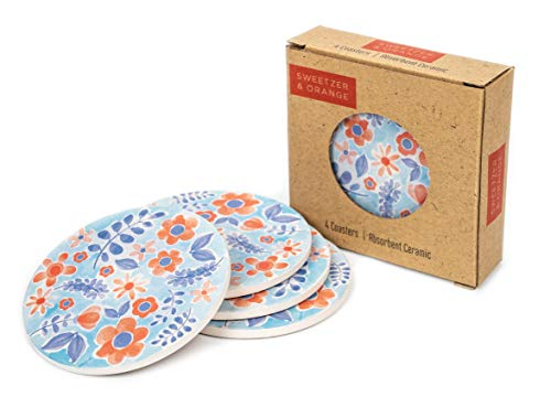 Ceramic Coasters for Drinks by Sweetzer & Orange - Blue Floral Drink Coasters, Round 4 Piece Coaster Set with Absorbent Ceramic Stone and Cork Base - Absorbant For Table, Desk and Bar