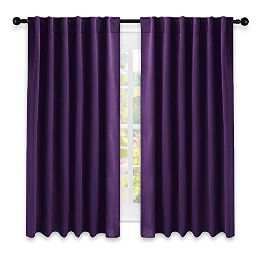 Eggplant Curtains (NICETOWN Kitchen Blackout Draperies Curtains for Window - (Royal Purple) 52 by 63 inches, Set of 2 Panels, Energy Saving Rod Pocket/Back Tab Blackout Drapes)