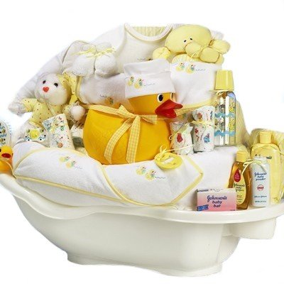 Rub-a-Dub Tub Gender Neutral New Baby Bath Time Gift Basket - Valentines, Easter or Shower Gift Idea for Newborns