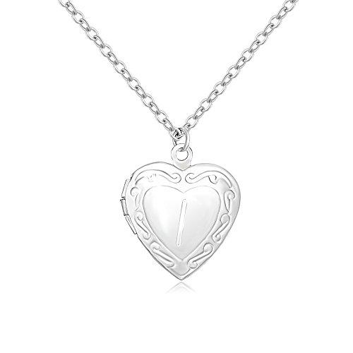 SENFAI Initial Alphabet Letter Heart Shaped Photo Frame Memory Locket Pendant Necklace ()