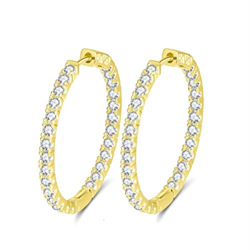 (uPrimor Gold Plated Big Hoop Earring Paved with Luxury AAA Cubic Zirconia for Ladies, Loop Earrings with Diameter 33mm to 35mm(1.29 to 1.37 inches) (Yellow, 35.00))