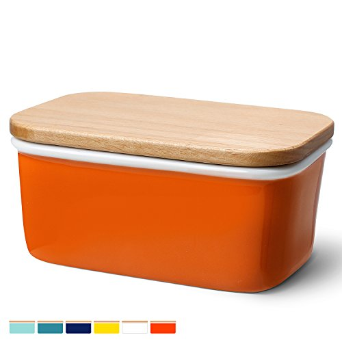 Sweese 3162 Large Butter Dish - Porcelain Keeper With Beech Wooden Lid, Perfect for 2 Sticks of Butter, Orange