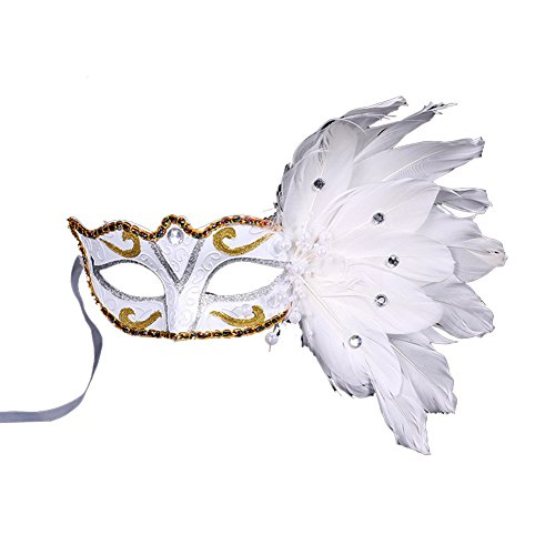 [Dreamowl Sheer Lace and Floral Mardi Gras Masquerade Costume Mask,White,One Size] (White Mardi Gras Mask)
